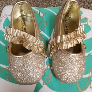 Sparkly gold MK flats